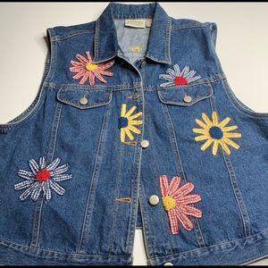 Susan Bristol Jean floral vest XL